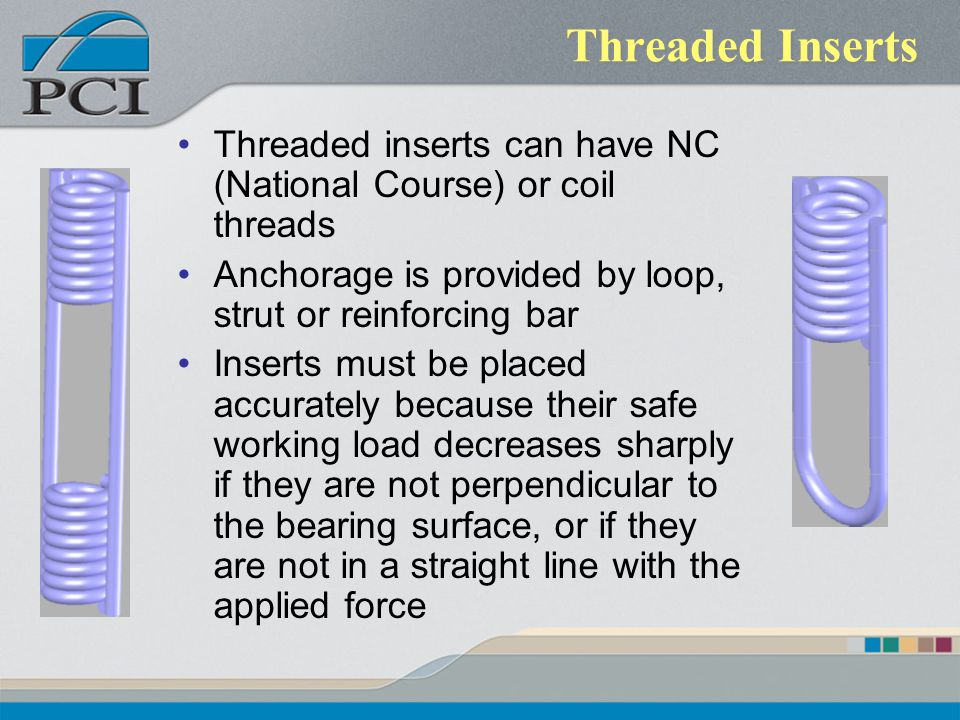 Threaded Inserts Threaded inserts can have NC (National Course) or coil threads. Anchorage is provided by loop, strut or reinforcing bar.