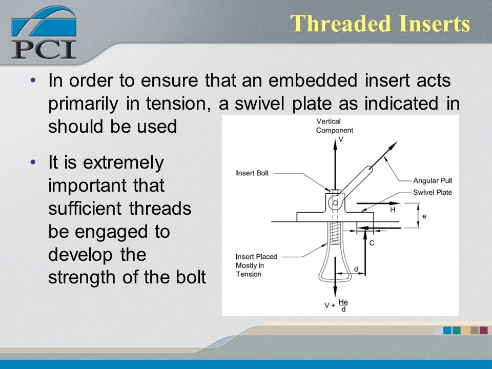 Threaded Inserts In order to ensure that an embedded insert acts primarily in tension, a swivel plate as indicated in should be used.
