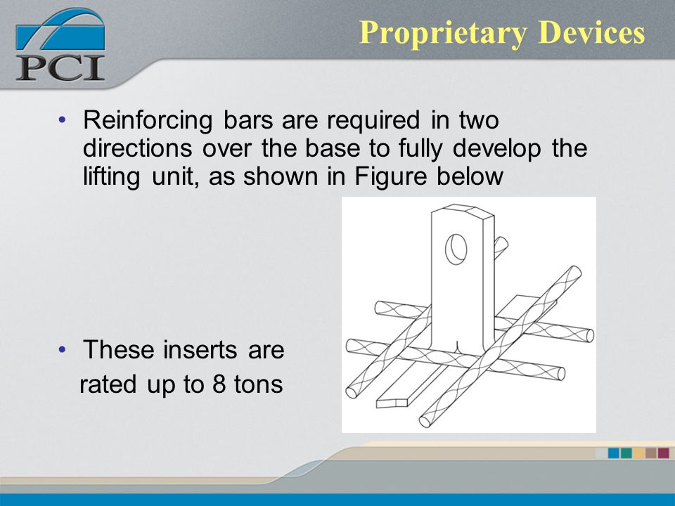 Proprietary Devices Reinforcing bars are required in two directions over the base to fully develop the lifting unit, as shown in Figure below.