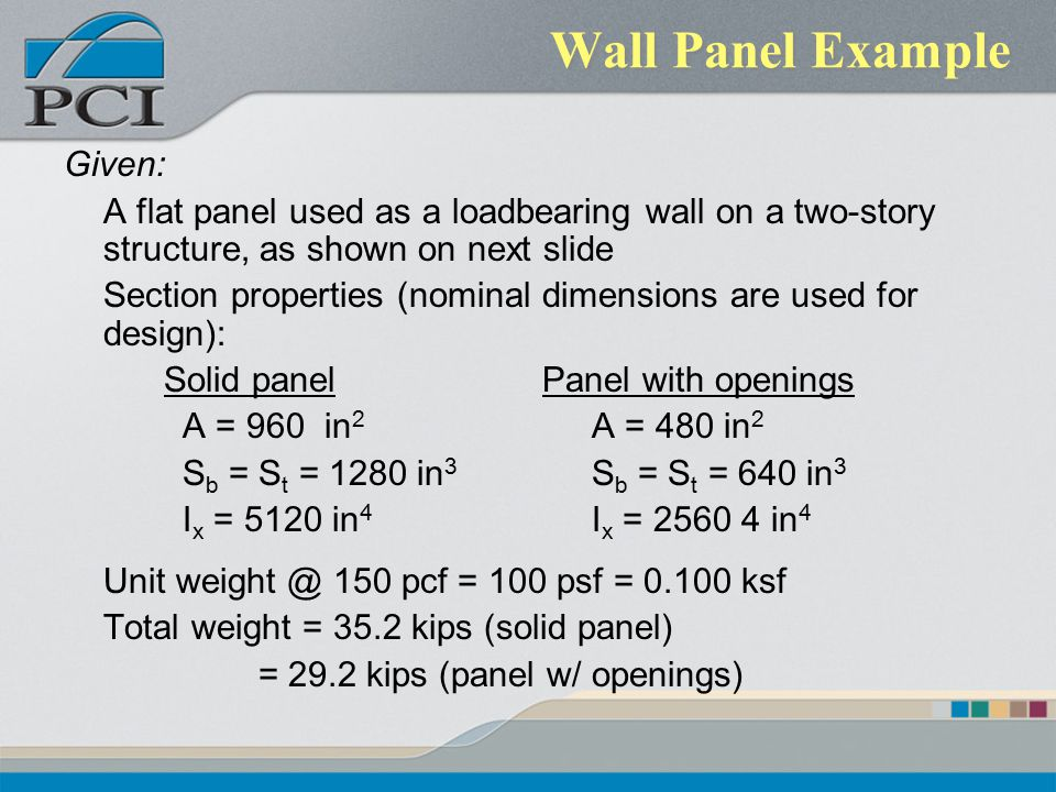 Wall Panel Example Given: