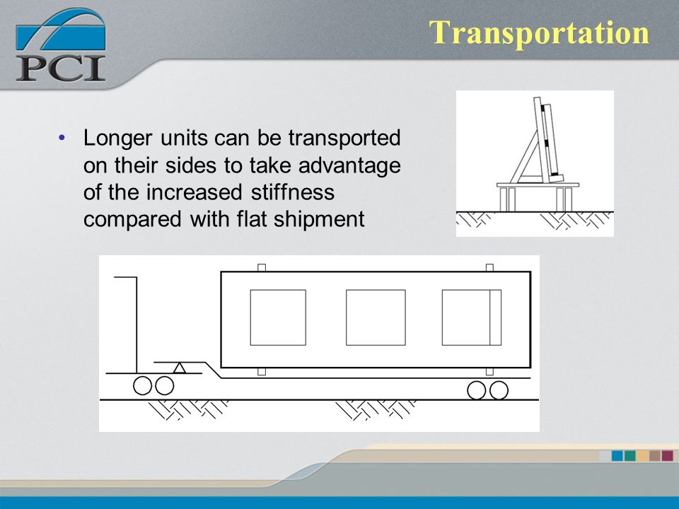 Transportation Longer units can be transported on their sides to take advantage of the increased stiffness compared with flat shipment.