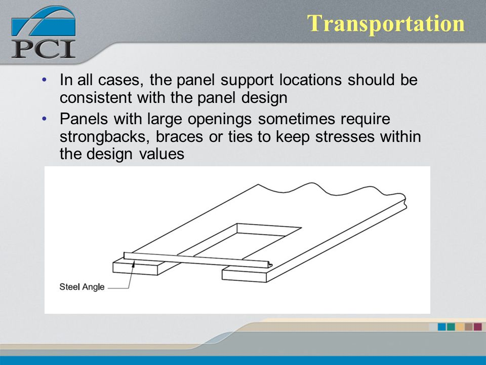 Transportation In all cases, the panel support locations should be consistent with the panel design.