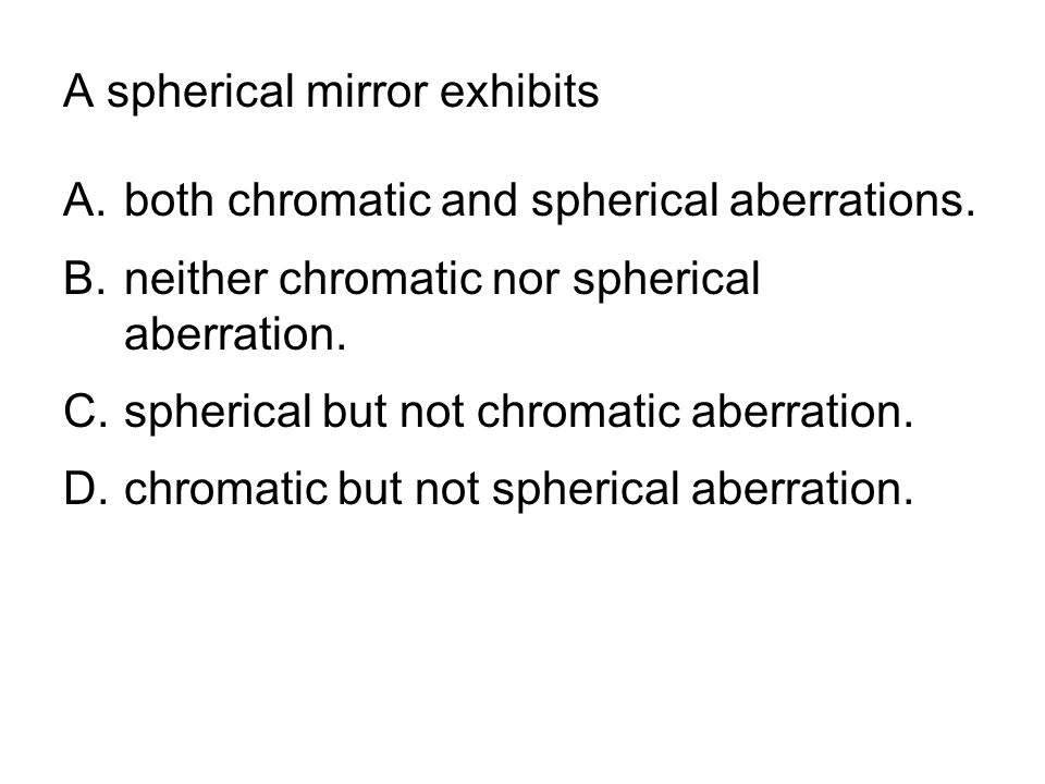 A spherical mirror exhibits