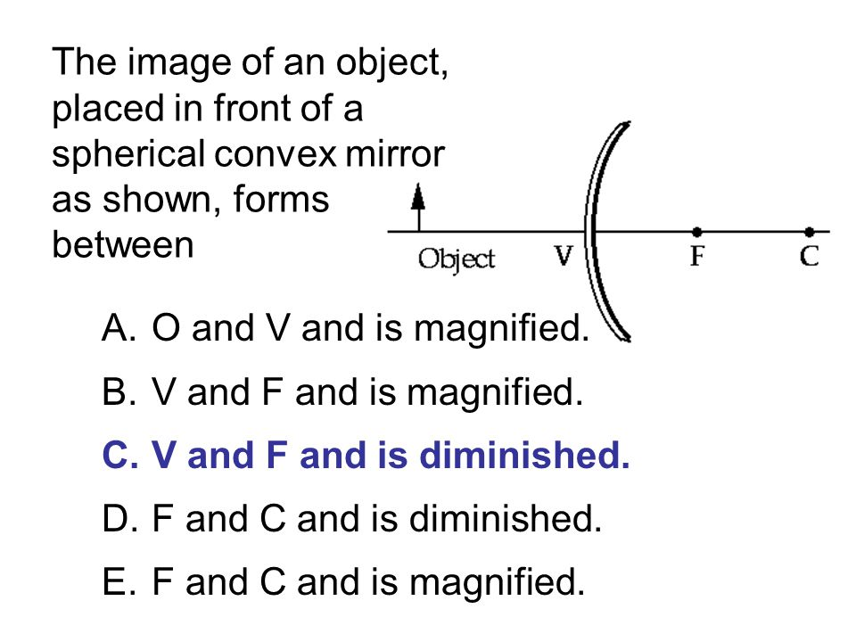 The image of an object, placed in front of a spherical convex mirror as shown, forms between