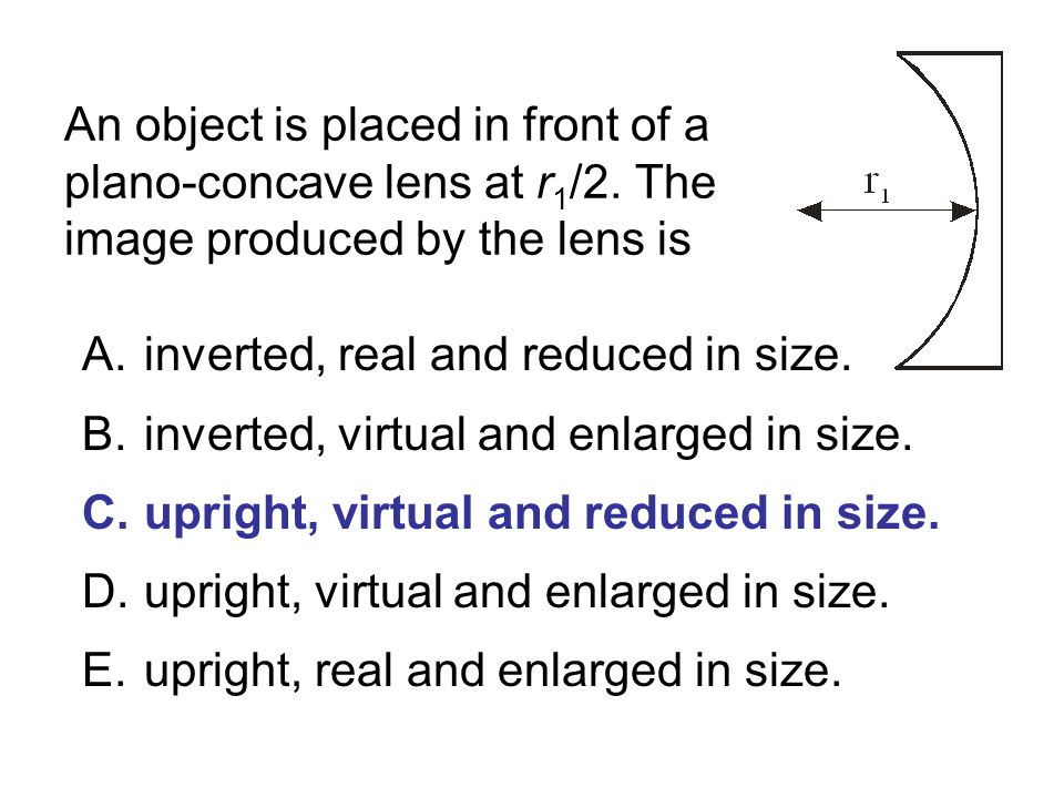 An object is placed in front of a plano-concave lens at r1/2