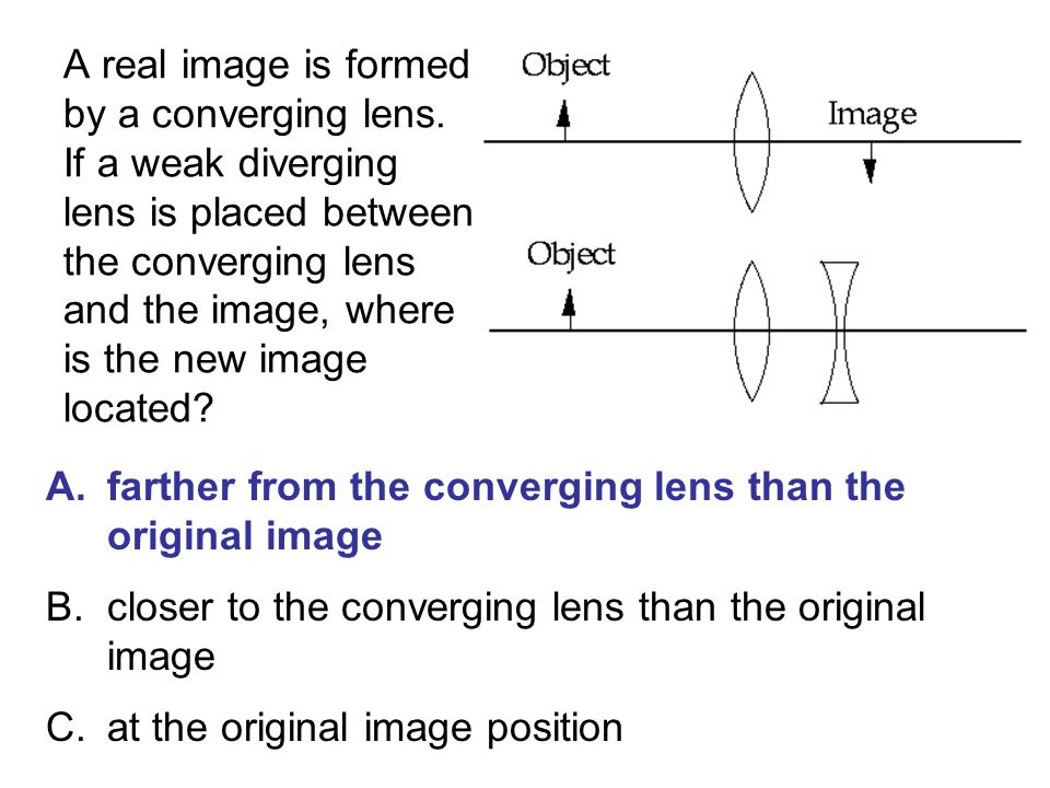 A real image is formed by a converging lens
