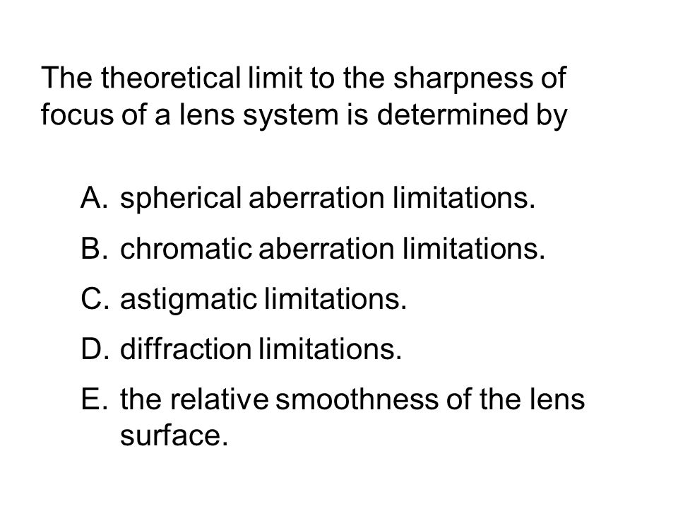 The theoretical limit to the sharpness of focus of a lens system is determined by