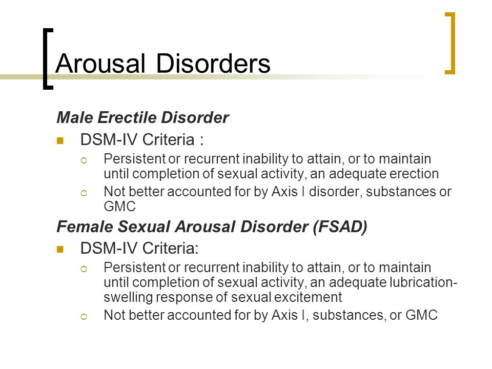 Sexual Arousal Disorder Male