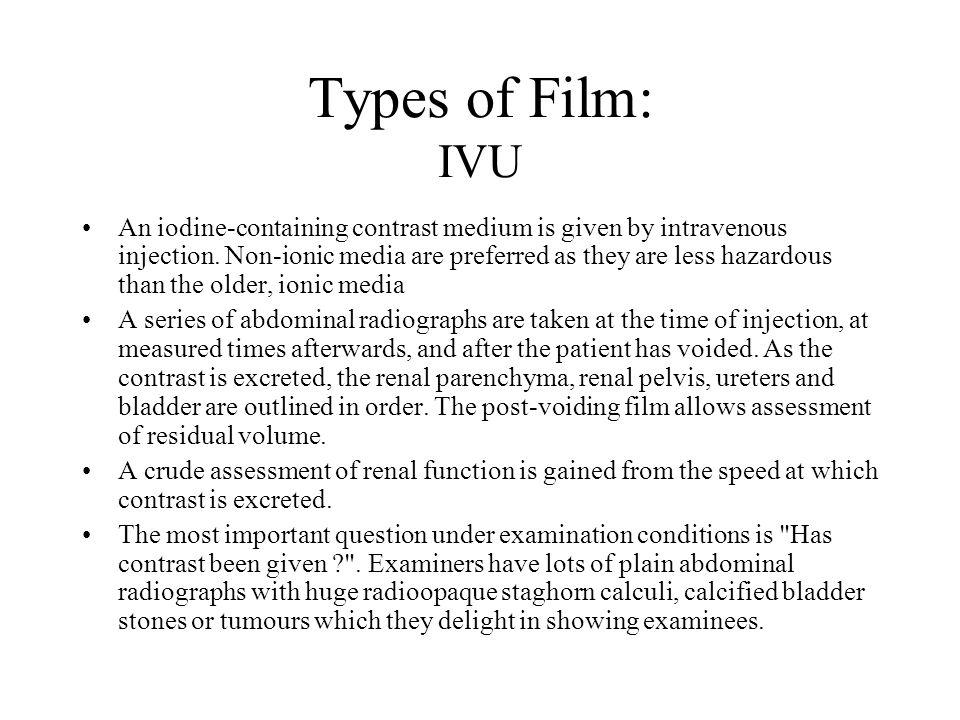 Types of Film: IVU