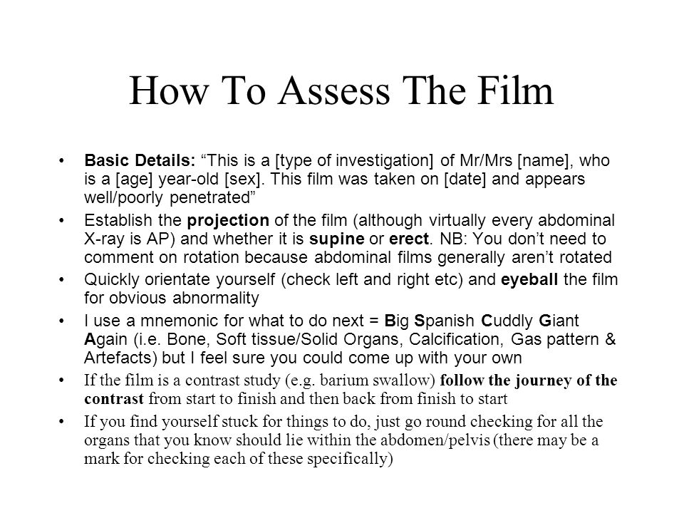 How To Assess The Film