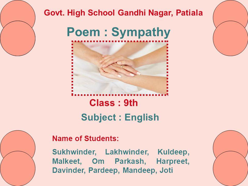 Poem : Sympathy Class : 9th Subject : English