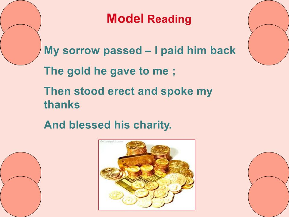 Model Reading My sorrow passed – I paid him back