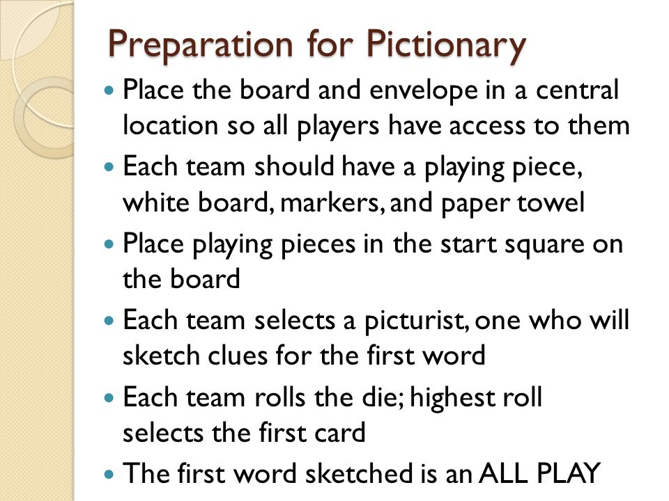Preparation for Pictionary
