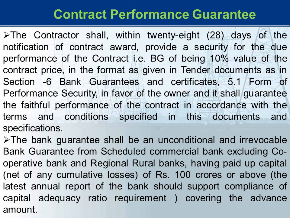 Contract Performance Guarantee