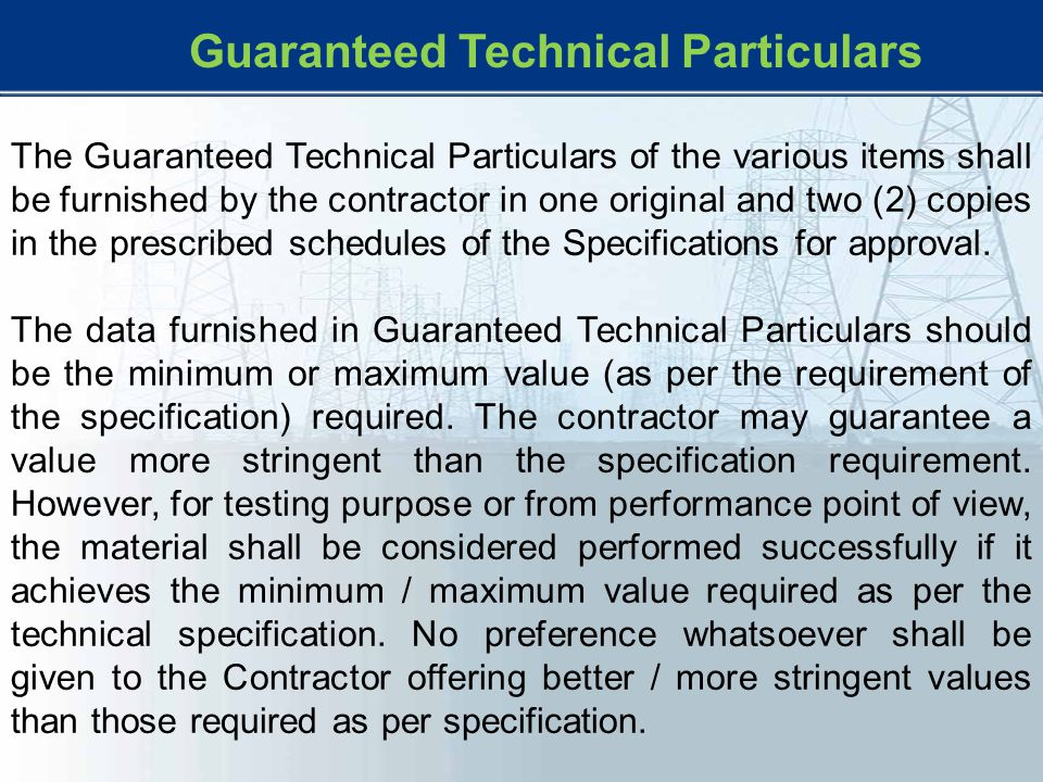 Guaranteed Technical Particulars