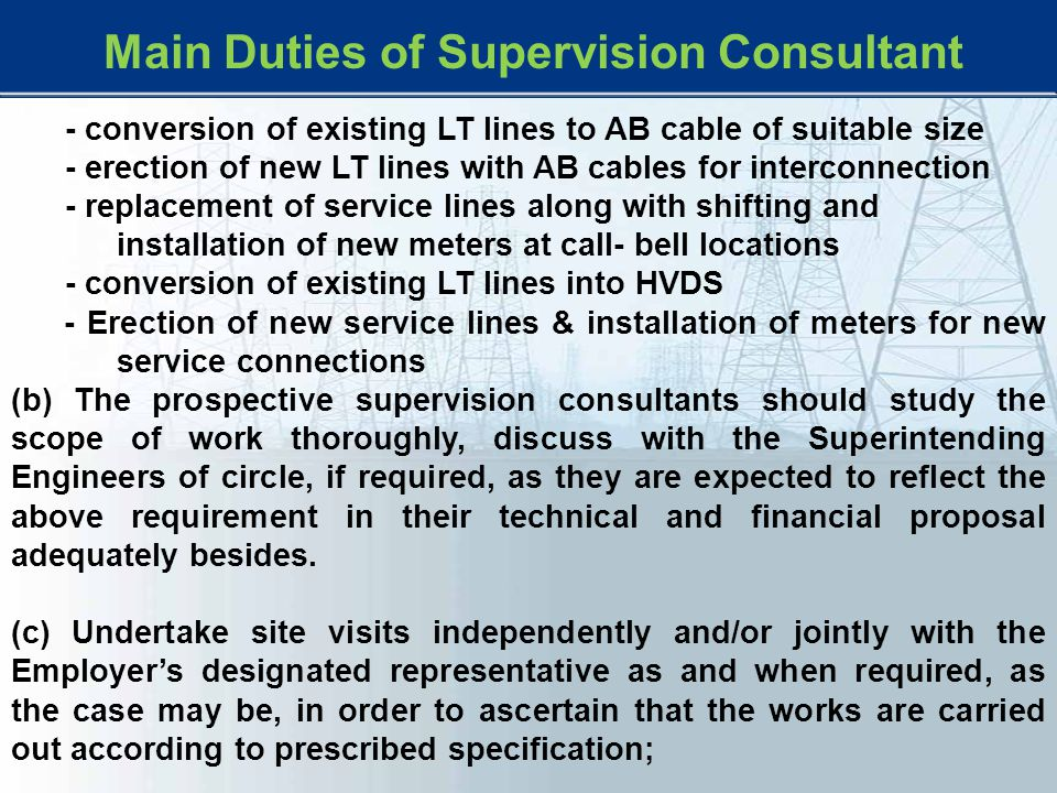 Main Duties of Supervision Consultant