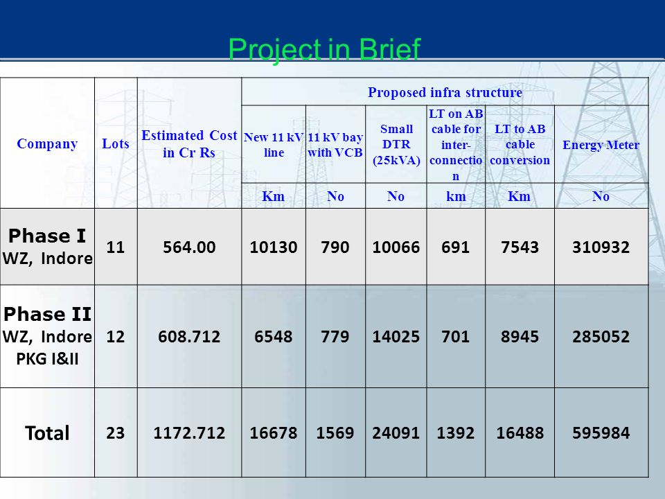 Project in Brief Total Phase I WZ, Indore 11 564.00 10130 790 10066