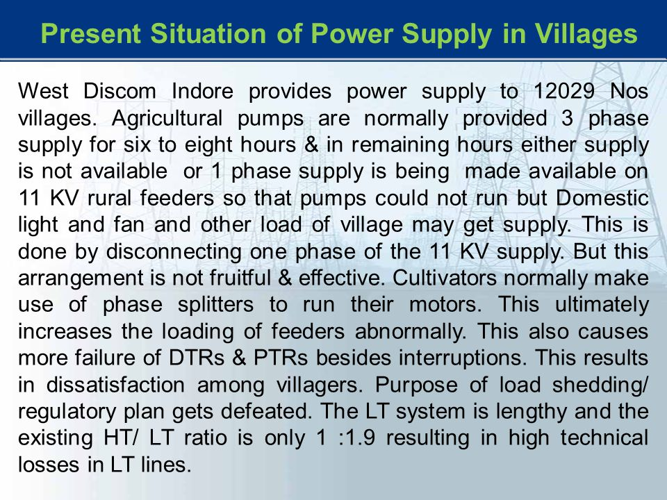 Present Situation of Power Supply in Villages