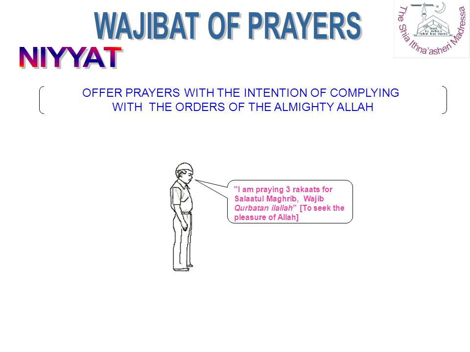 WAJIBAT OF PRAYERS NIYYAT