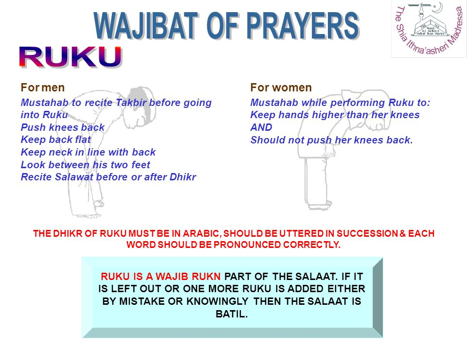 WAJIBAT OF PRAYERS RUKU For men For women
