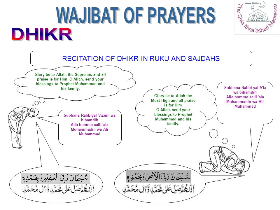 WAJIBAT OF PRAYERS DHIKR RECITATION OF DHIKR IN RUKU AND SAJDAHS