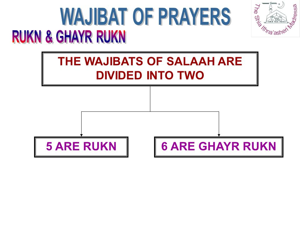 THE WAJIBATS OF SALAAH ARE DIVIDED INTO TWO