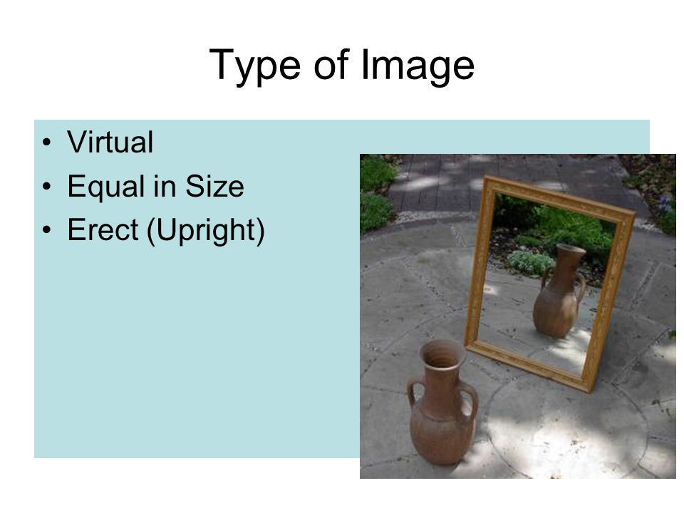 Type of Image Virtual Equal in Size Erect (Upright)