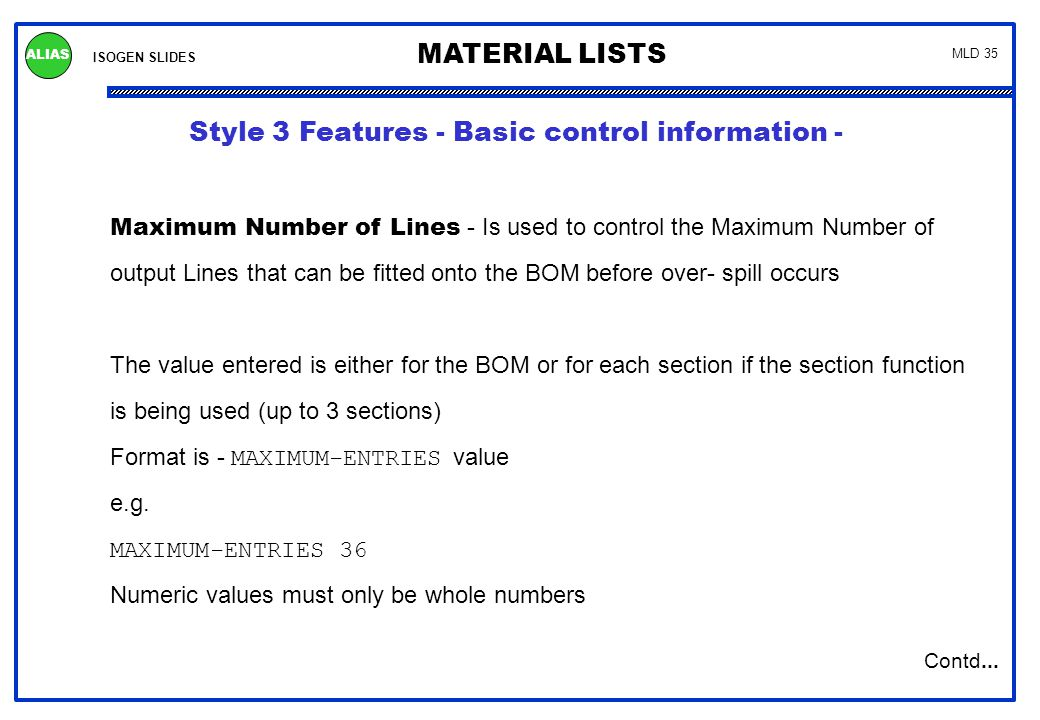 Style 3 Features - Permissible Data items