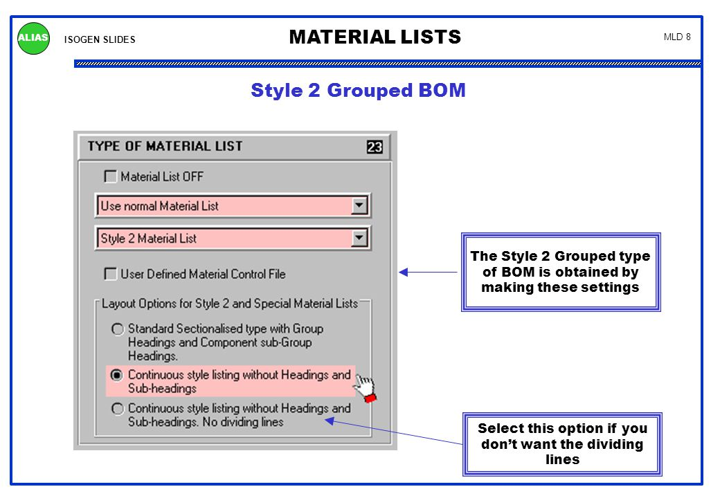 This is the MLD file for the Style 2 BOM with Grouping on page 7