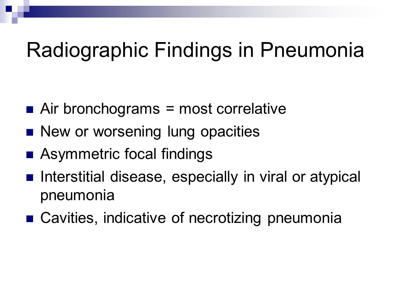 Radiographic Findings in Pneumonia