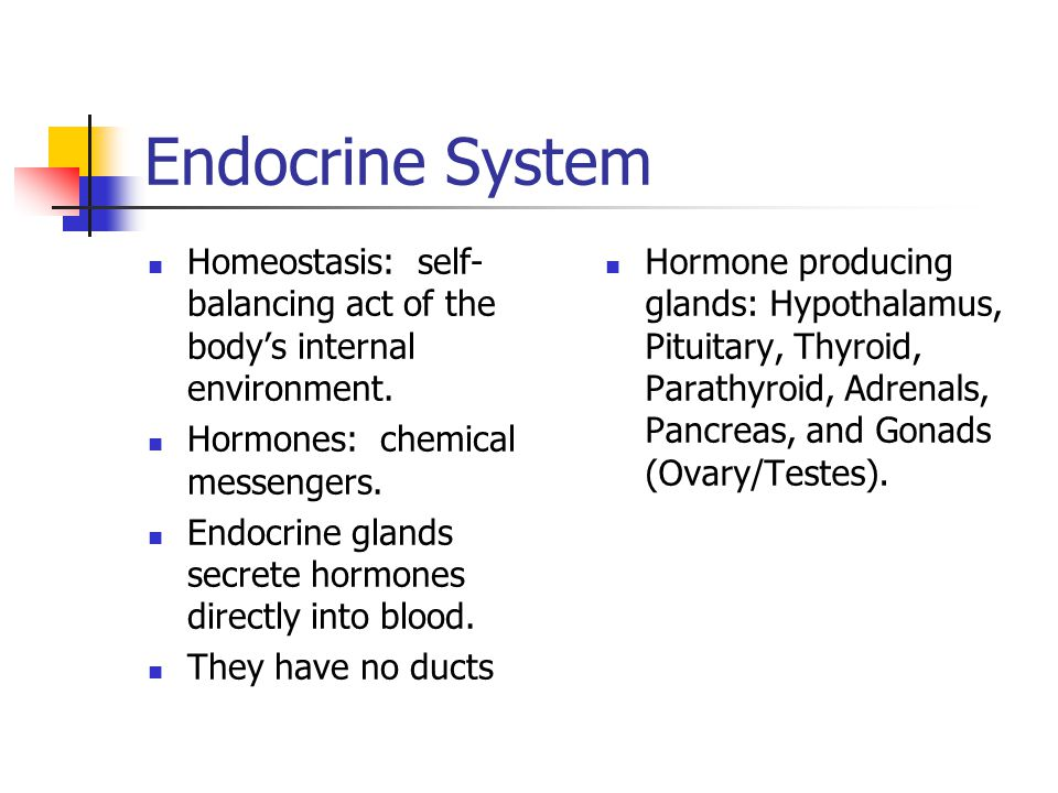 Endocrine System Homeostasis: self-balancing act of the body's internal environment. Hormones: chemical messengers.