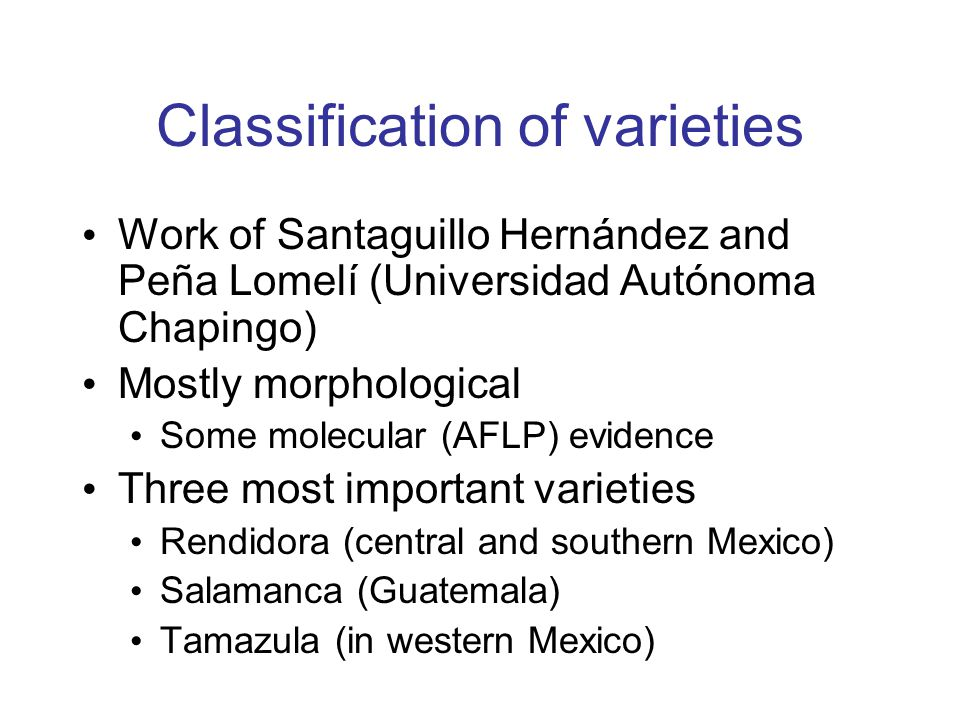 Classification of varieties