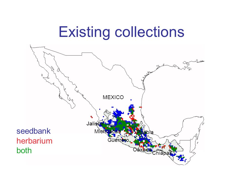 Existing collections seedbank herbarium both MEXICO Jalisco Michoacan