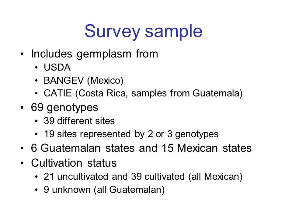 Survey sample Includes germplasm from 69 genotypes