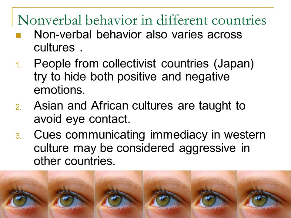 Nonverbal behavior in different countries