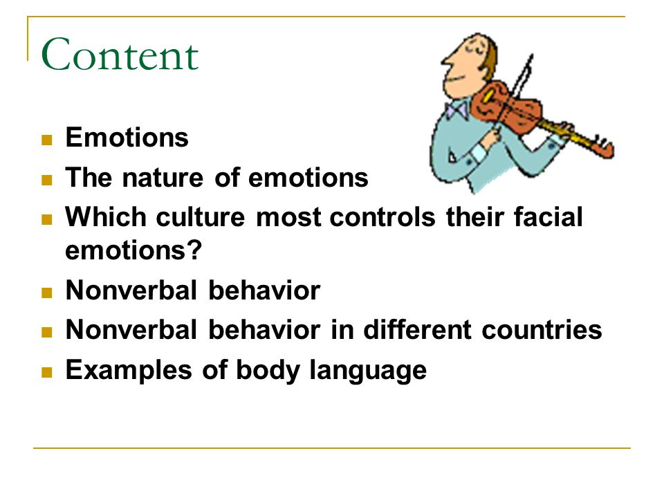 Content Emotions The nature of emotions