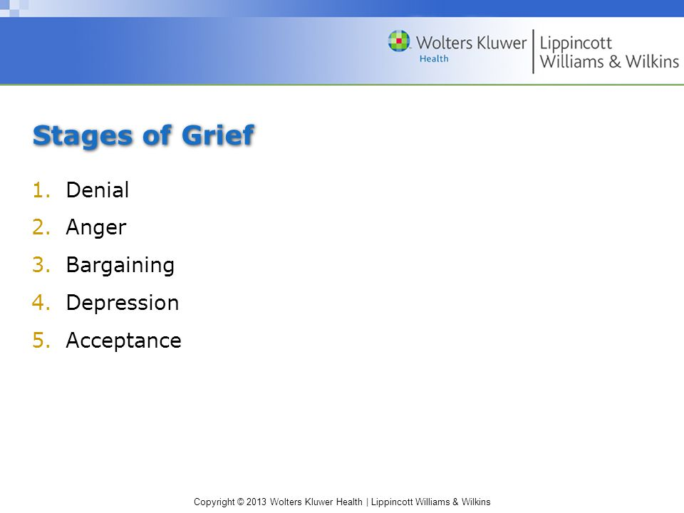Stages of Grief Denial Anger Bargaining Depression Acceptance