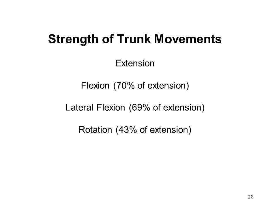 Strength of Trunk Movements