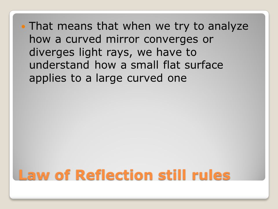 Law of Reflection still rules