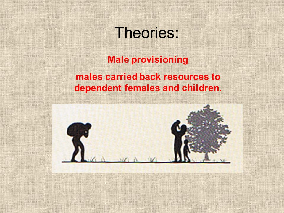 males carried back resources to dependent females and children.