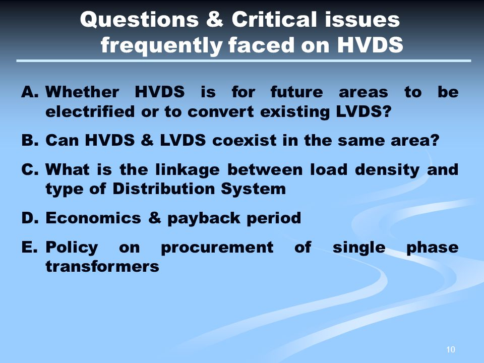 Questions & Critical issues frequently faced on HVDS