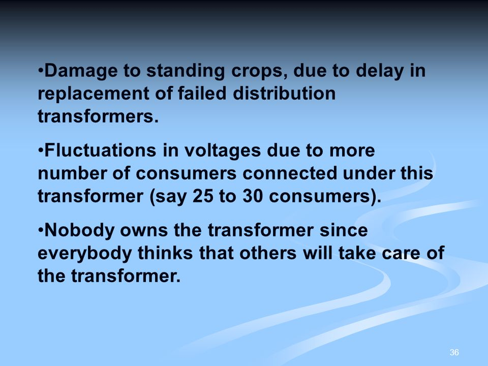 Damage to standing crops, due to delay in replacement of failed distribution transformers.