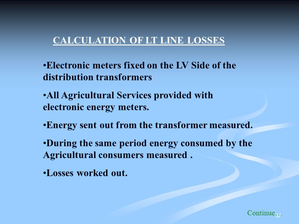 CALCULATION OF LT LINE LOSSES