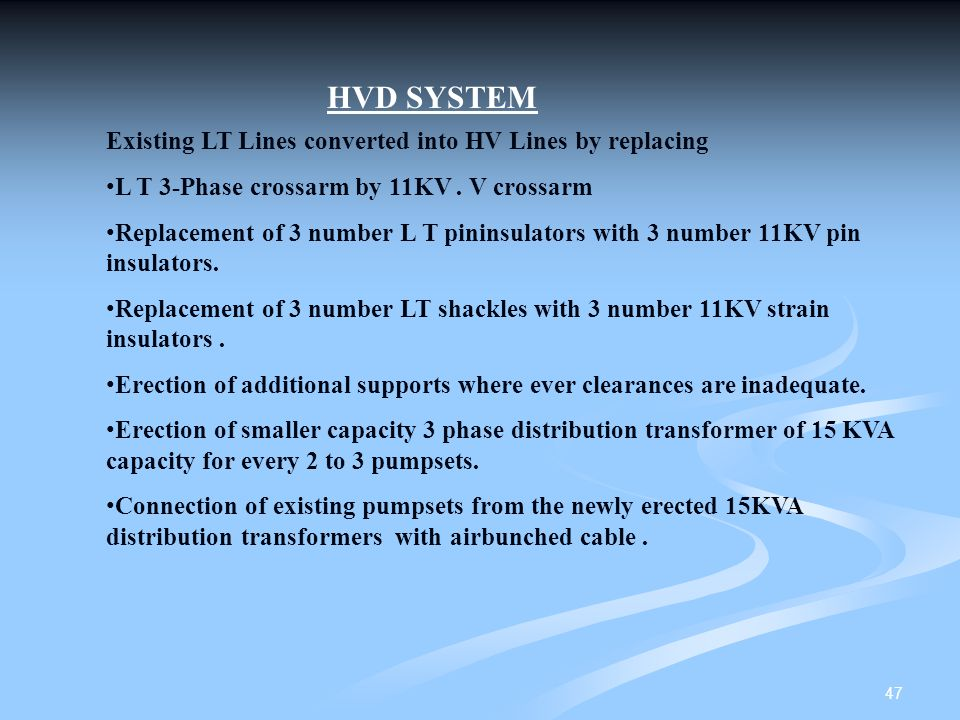 HVD SYSTEM Existing LT Lines converted into HV Lines by replacing