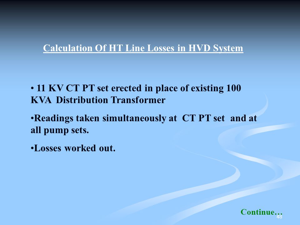 Calculation Of HT Line Losses in HVD System