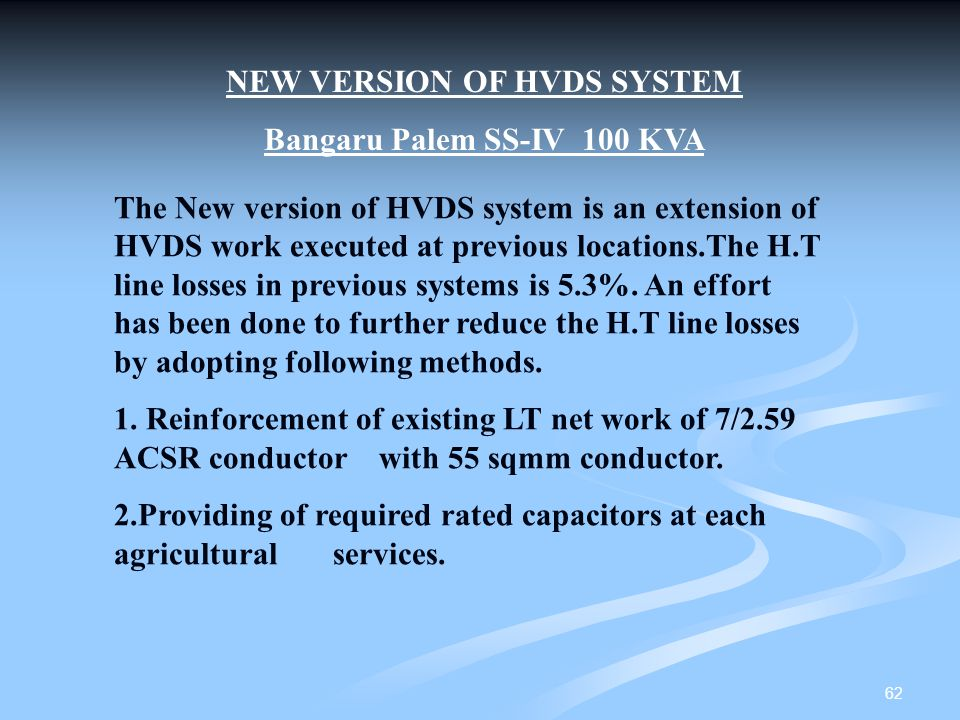 NEW VERSION OF HVDS SYSTEM Bangaru Palem SS-IV 100 KVA