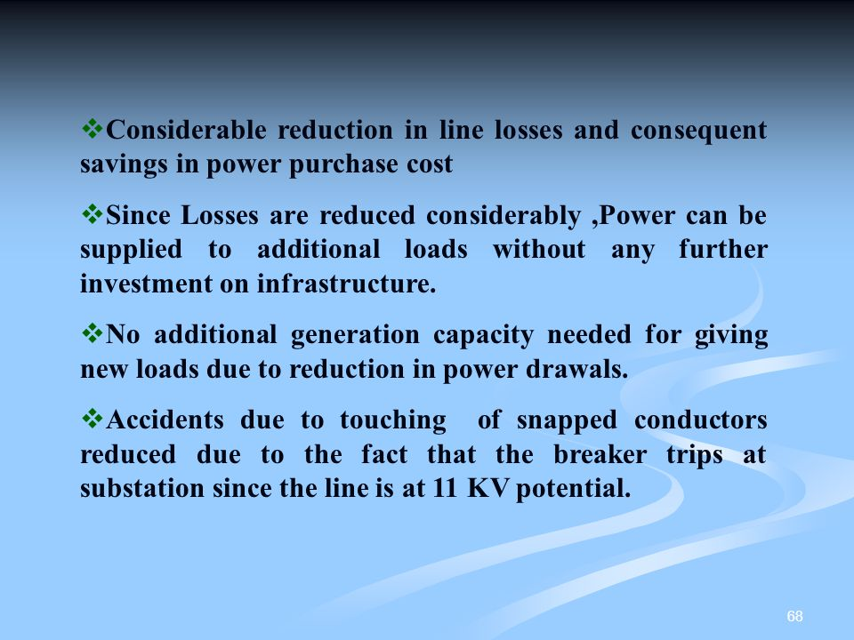 Considerable reduction in line losses and consequent savings in power purchase cost