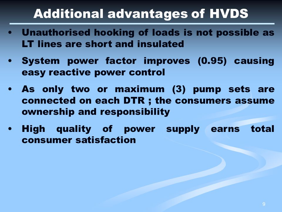 Additional advantages of HVDS