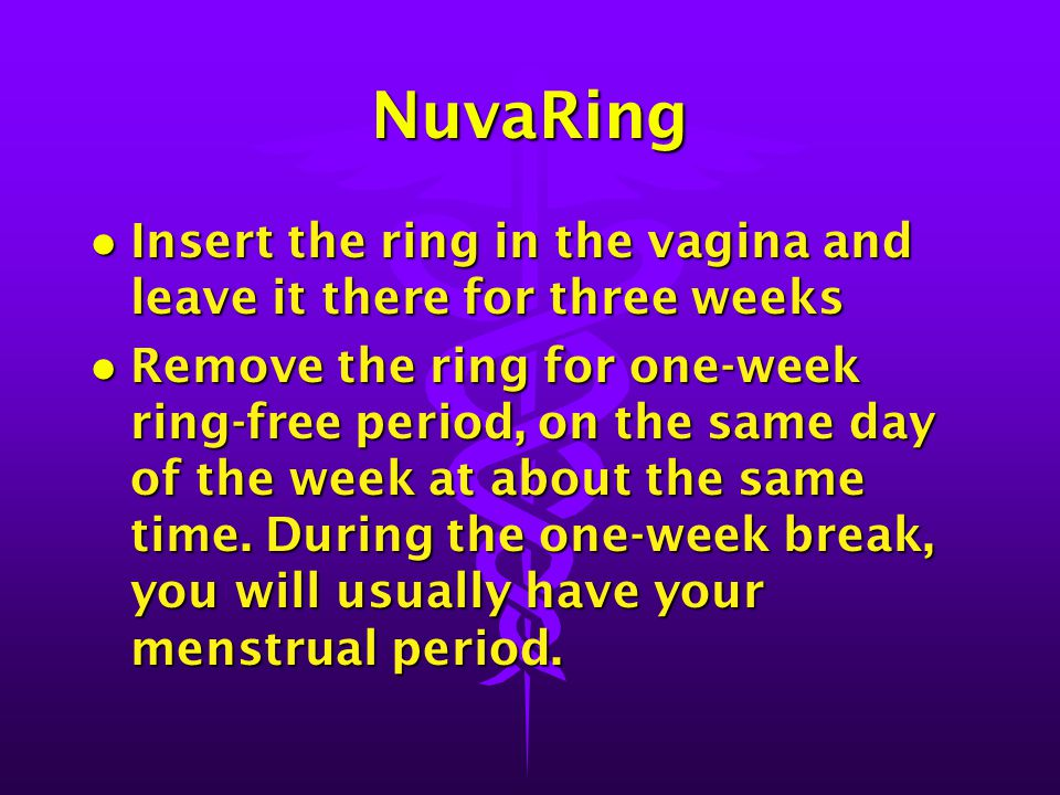 NuvaRing Insert the ring in the vagina and leave it there for three weeks.