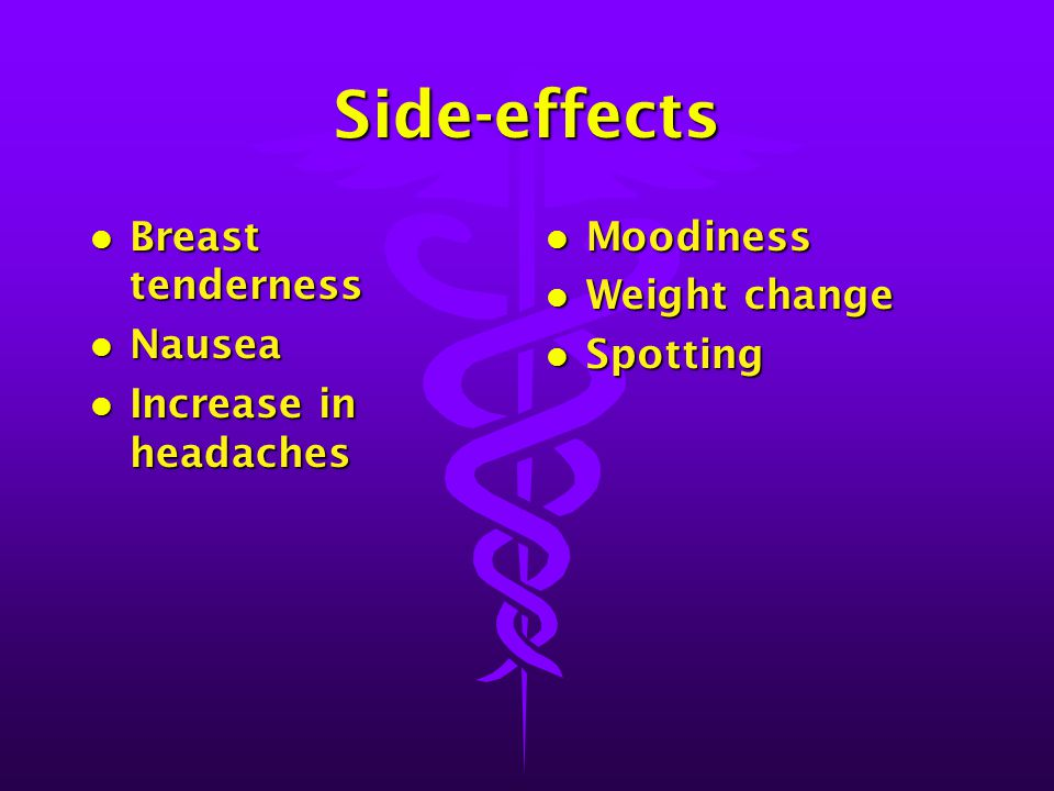 Side-effects Breast tenderness Nausea Increase in headaches Moodiness